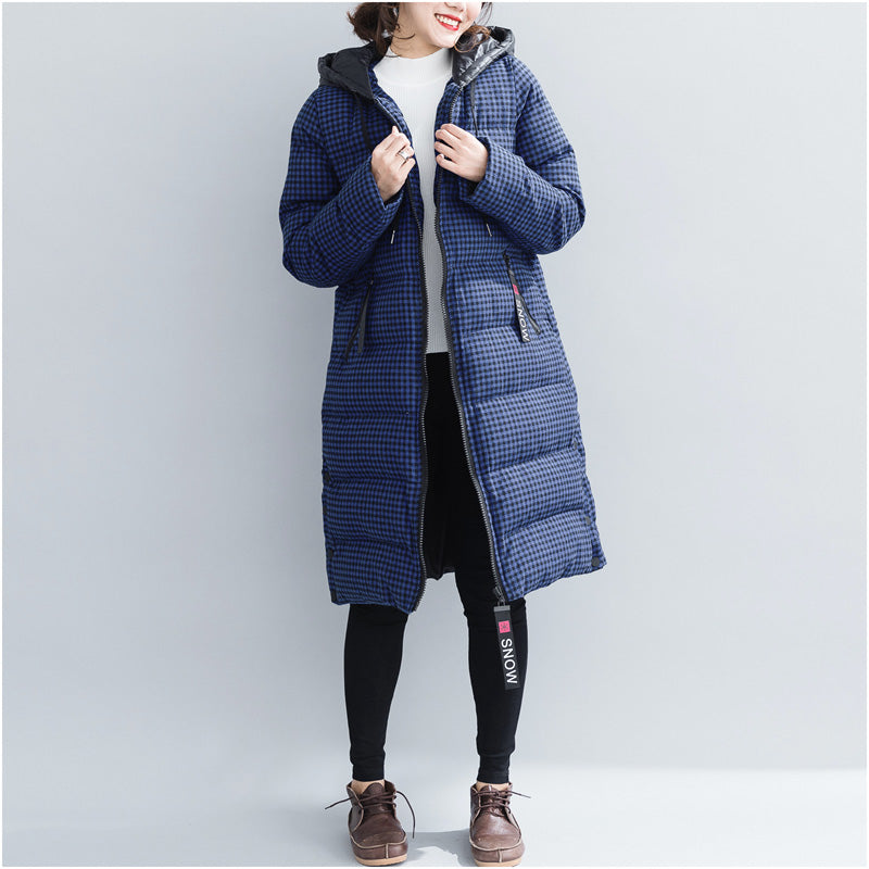 8ef470766f4 top quality blue plaid winter parkas plus size hooded snow jackets Elegant  thick winter coats ...