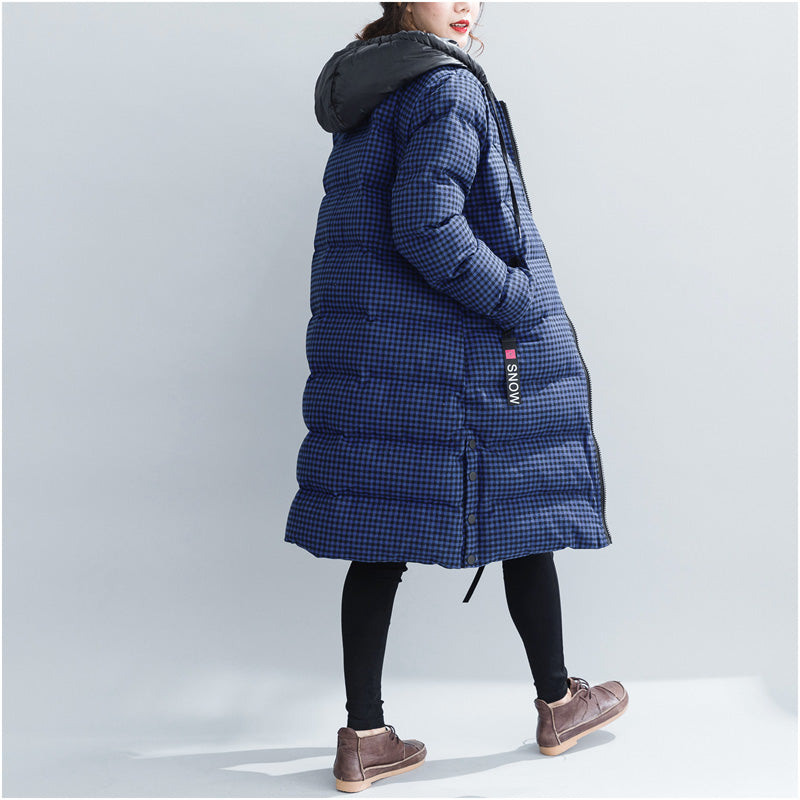 b1b2a5b6261 ... top quality blue plaid winter parkas plus size hooded snow jackets  Elegant thick winter coats ...