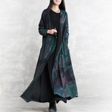 Load image into Gallery viewer, top quality blue print fall dress trendy plus size v neck tie waist tunic caftans Fine long sleeve pockets maxi dresses