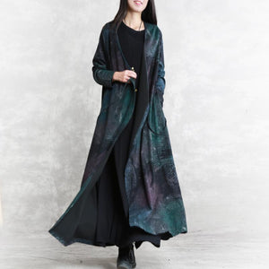 top quality blue print fall dress trendy plus size v neck tie waist tunic caftans Fine long sleeve pockets maxi dresses