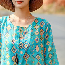 Load image into Gallery viewer, top quality blue print natural linen dress plus size clothing o neck linen maxi dress vintage half sleeve baggy dresses