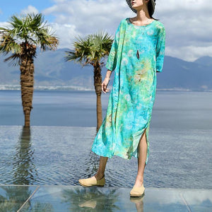 top quality blue print natural linen dress plus size o neck baggy dresses New Three Quarter sleeve dresses