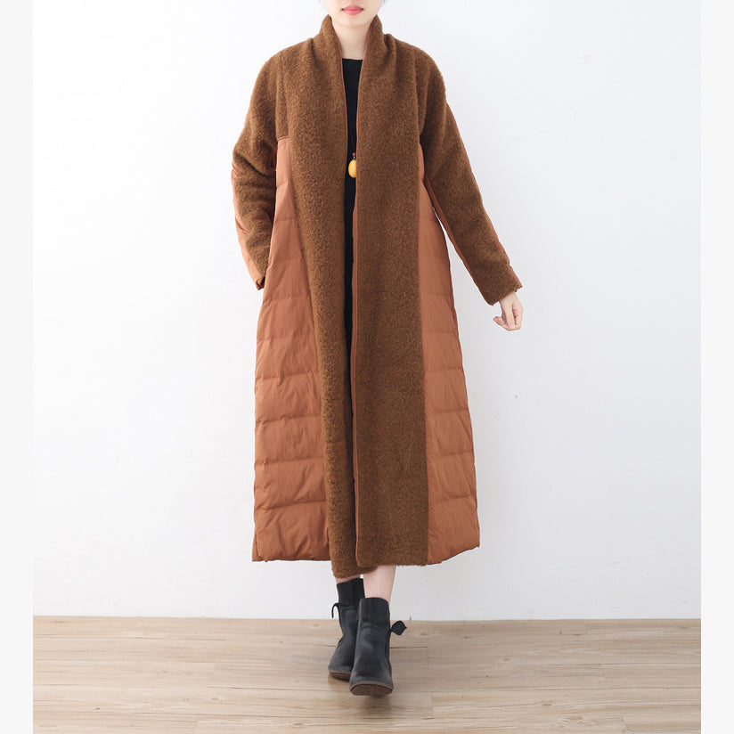top quality brown down overcoat plussize high neck quilted coat top quality coats