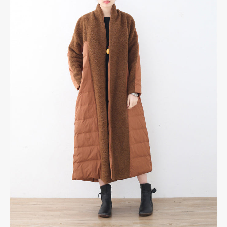 fine brown down overcoat plussize high neck quilted coat fine coats