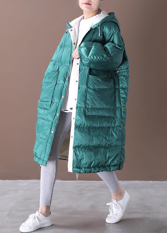 casual down jacket coats blue green hooded pockets goose Down coat