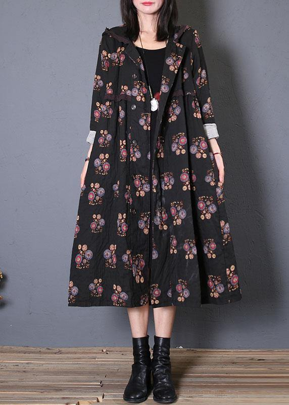 fine casual long coat fall black print hooded Cinched overcoat