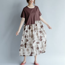 Load image into Gallery viewer, top quality chocolate cotton linen dresses oversize short sleeve print patchwork cotton linen gown vintage o neck gown