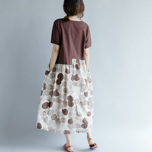 top quality chocolate cotton linen dresses oversize short sleeve print patchwork cotton linen gown vintage o neck gown
