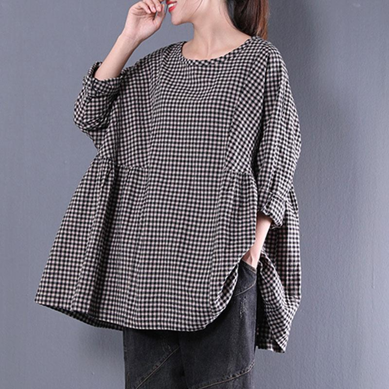 top quality cotton blended blouses oversized Casual Round Neck Long Sleeve Spring Lattice Shirt