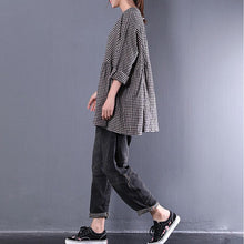 Load image into Gallery viewer, top quality cotton blended blouses oversized Casual Round Neck Long Sleeve Spring Lattice Shirt