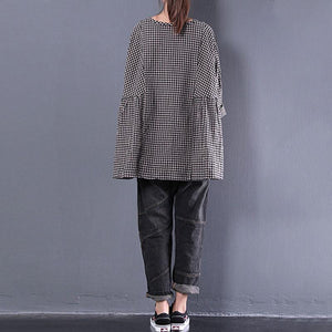 fine cotton blended blouses oversized Casual Round Neck Long Sleeve Spring Lattice Shirt