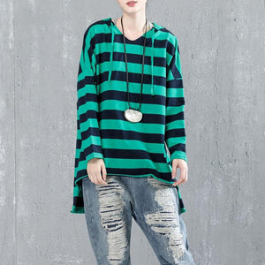 top quality cotton blouse Loose fitting Casual Bat Sleeve Hooded Stripe Shirt