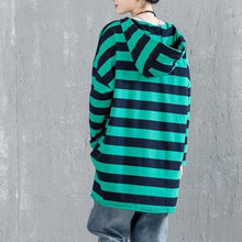 Load image into Gallery viewer, top quality cotton blouse Loose fitting Casual Bat Sleeve Hooded Stripe Shirt