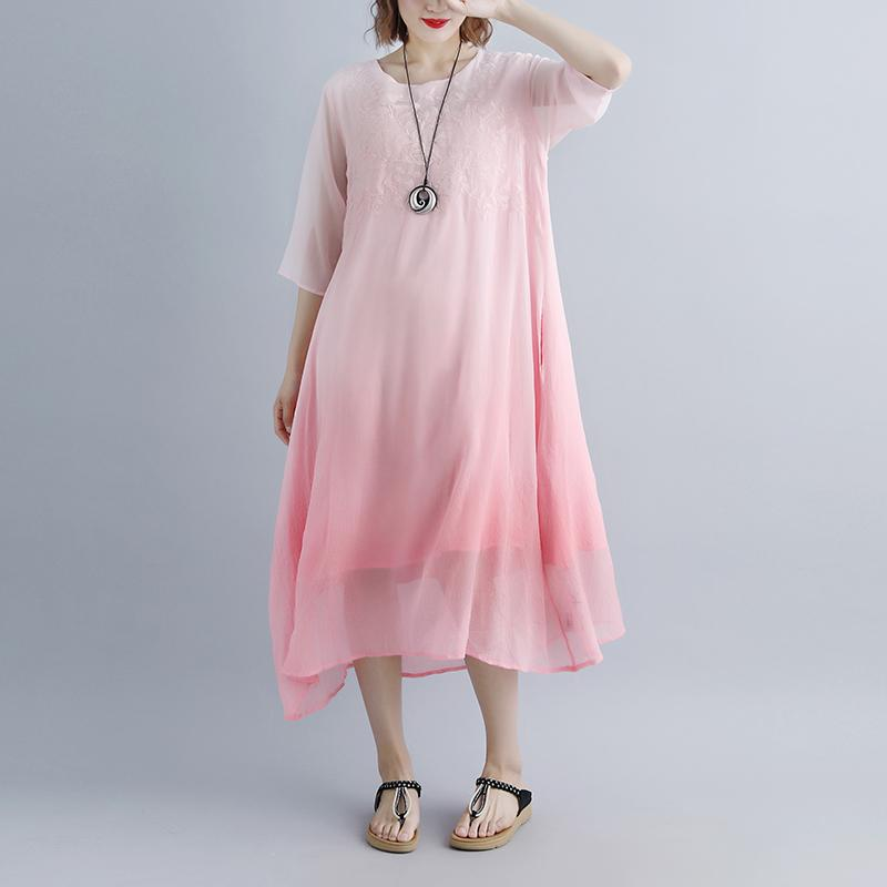 top quality cotton dresses trendy plus size Fake Two-piece Pockets Retro Pink Summer Dress