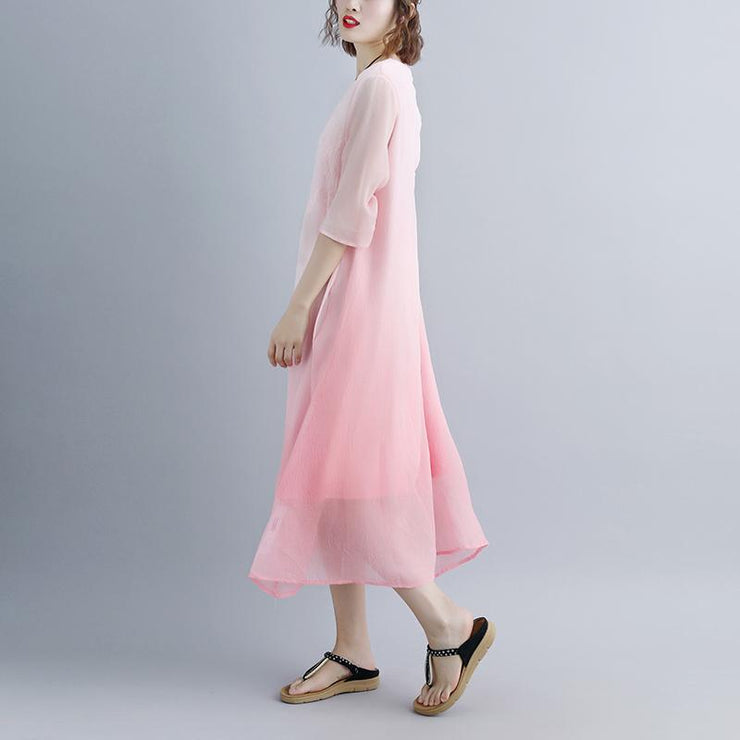 fine cotton dresses trendy plus size Fake Two-piece Pockets Retro Pink Summer Dress
