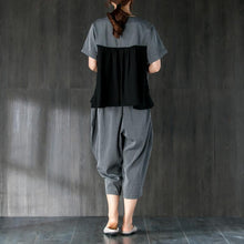 Load image into Gallery viewer, top quality cotton summer dress Loose fitting Gray Two Pieces Set Stripe Splicing Blouse Lantern Pants