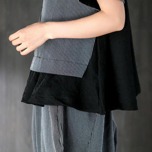 top quality cotton summer dress Loose fitting Gray Two Pieces Set Stripe Splicing Blouse Lantern Pants