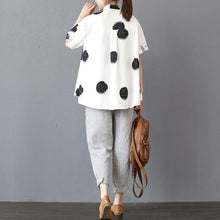 Load image into Gallery viewer, top quality cotton summer top oversized Stand Collar Short Sleeve Loose Cotton White Shirt