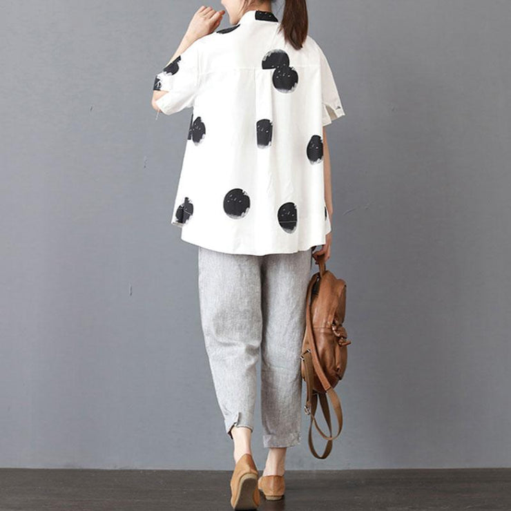 fine cotton summer top oversized Stand Collar Short Sleeve Loose Cotton White Shirt