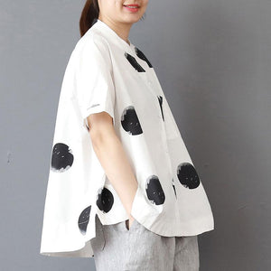 top quality cotton summer top oversized Stand Collar Short Sleeve Loose Cotton White Shirt