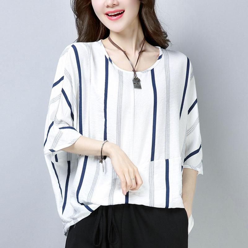 fine cotton tops oversized Casual Summer Short Sleeve Navy Blue Stripe T-shirt