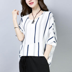 top quality cotton tops oversized Casual Summer Short Sleeve Navy Blue Stripe T-shirt