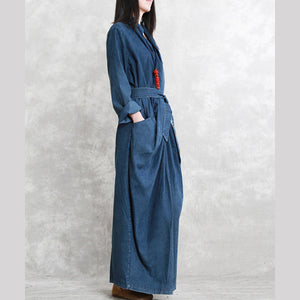 top quality denim blue 2018 fall dress casual v neck tie waist traveling dress 2018 long sleeve back side open long dresses