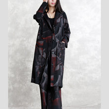 Load image into Gallery viewer, fine floral coat oversized two pieces Hooded pockets coat women long sleeve long coats elastic waist trouse