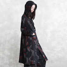 Load image into Gallery viewer, top quality floral coat oversized two pieces Hooded pockets coat women long sleeve long coats elastic waist trouse