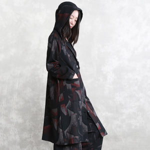 top quality floral coat oversized two pieces Hooded pockets coat women long sleeve long coats elastic waist trouse
