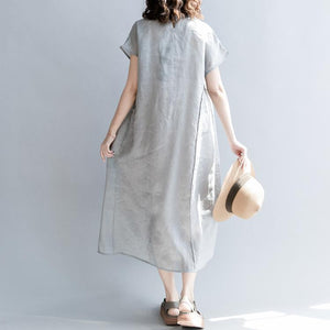top quality gray natural linen dress oversize o neck patchwork linen maxi dress 2018 short sleeve baggy dresses