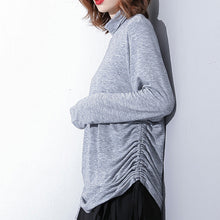 Load image into Gallery viewer, top quality gray pure tops oversized high neck cotton t shirt top quality drawstring blouses