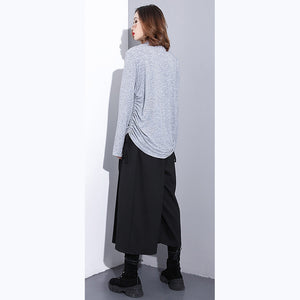 top quality gray pure tops oversized high neck cotton t shirt top quality drawstring blouses