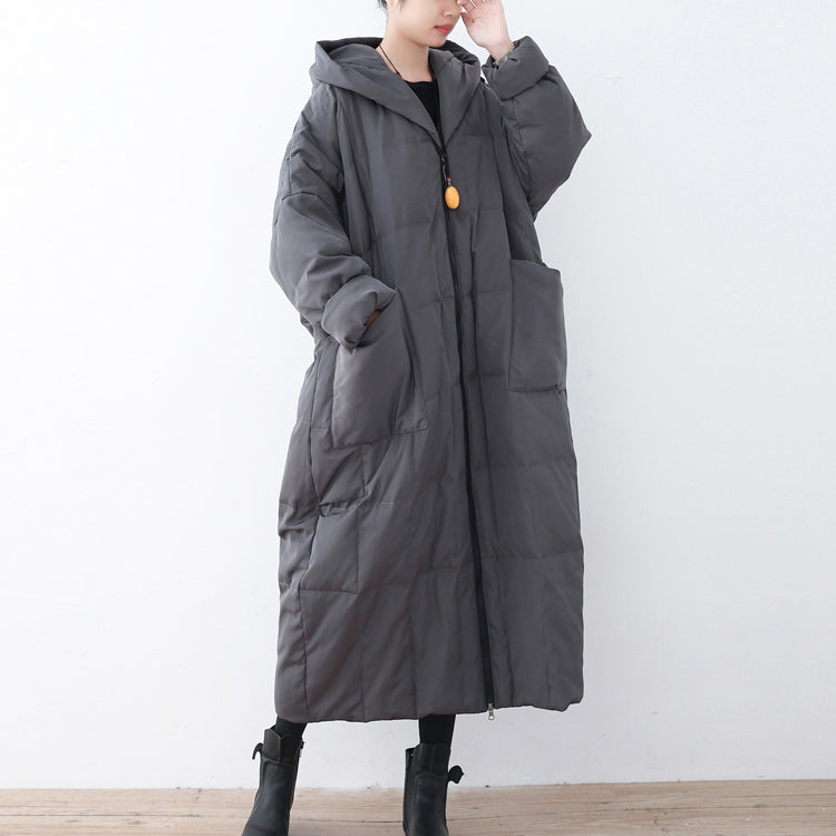 Gray winter parka plus size clothing Parka thick hooded maxi cardigans