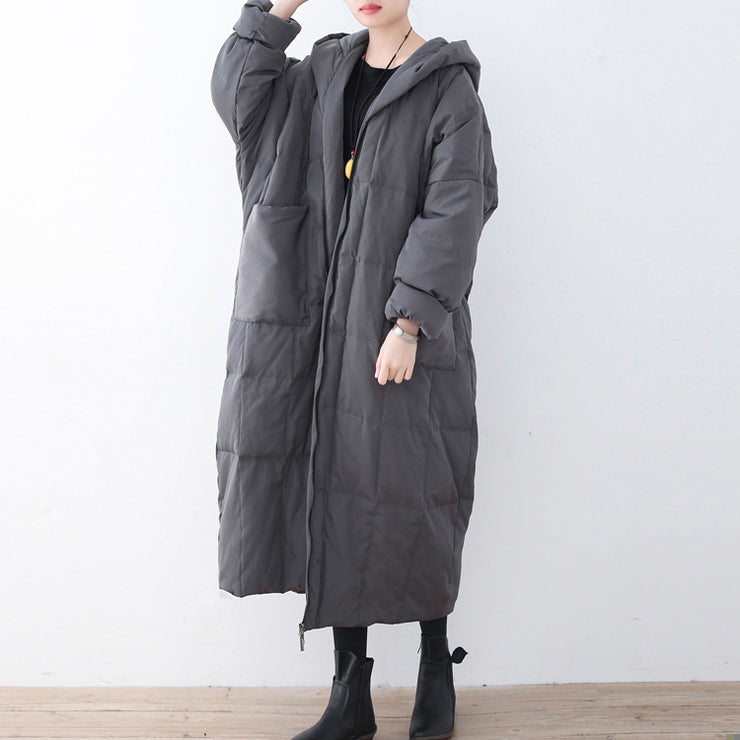 Limited Stock-Gray Warm Down Coat Plus Size Parka thick Hooded Maxi Cardigan
