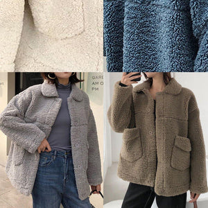 top quality gray woolen overcoat plus size clothing Winter coat lapel collar winter outwear