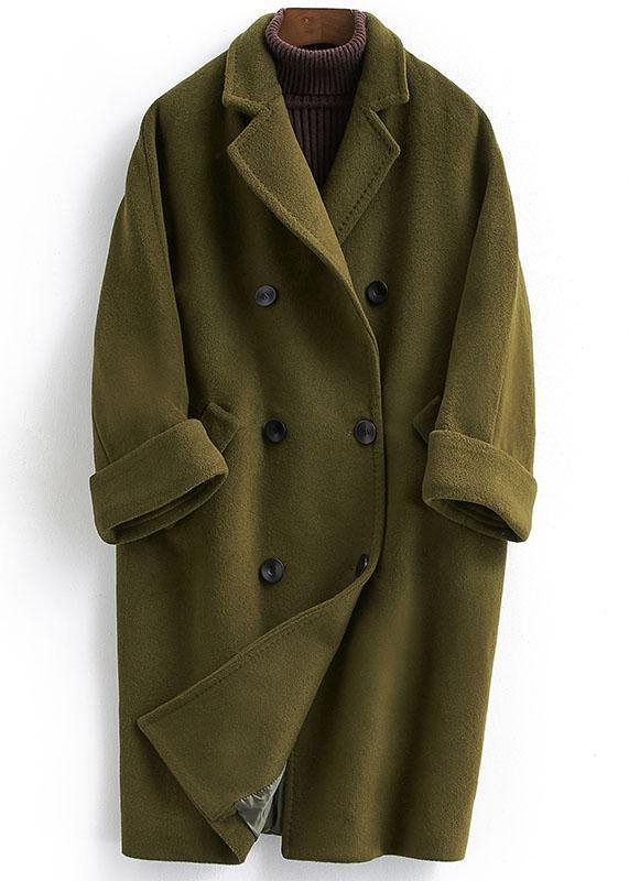 fine green Woolen Coat trendy plus size long double breast women coats Notched