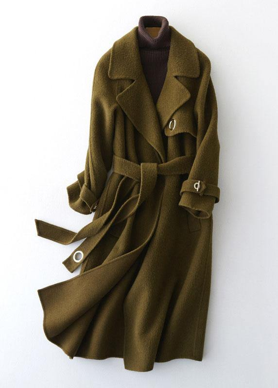 top quality green Woolen Coats Loose fitting long coats tie waist outwear lapel collar