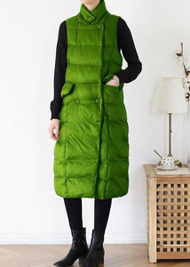 fine green back side winter parkas plus size clothing winter jacket stand collar sleeveless winter outwear