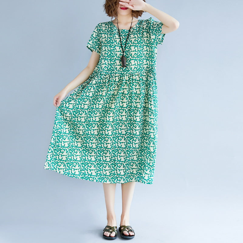 9902b0864e2 ... top quality green cotton linen dresses plus size short sleeve print baggy  dresses long dresses vintage ...