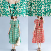 fine green cotton linen dresses plus size short sleeve print baggy dresses long dresses vintage o neck traveling dress