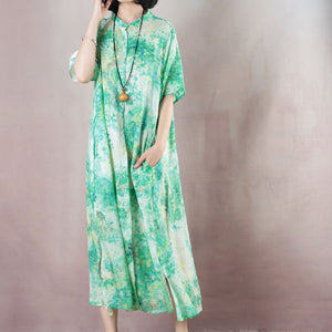 top quality green linen caftans oversized Stand gown 2018 short sleeve print kaftans