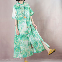Load image into Gallery viewer, top quality green linen caftans oversized Stand gown 2018 short sleeve print kaftans