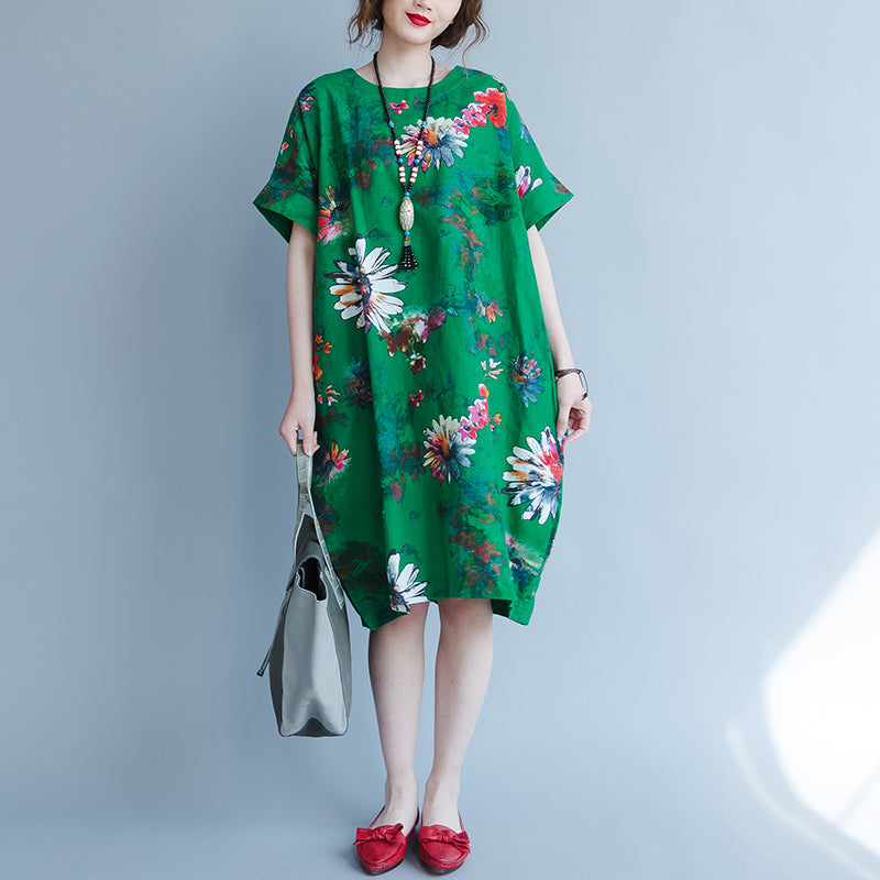 fine green linen dress oversize traveling dress boutique short sleeve prints linen clothing dresses