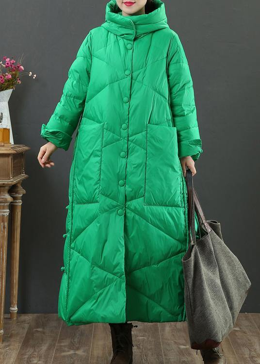 fine green warm winter coat oversize down jacket hooded Button Down women Jackets
