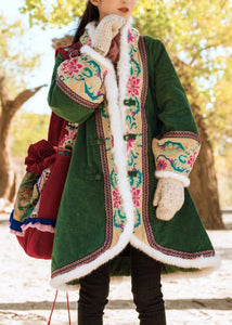 top quality green winter outwear plus size Jackets & Coats embroidery Chinese Button coats