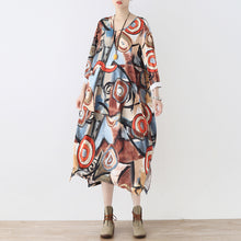 Afbeelding in Gallery-weergave laden, fine khaki beige prints cotton dress plus size clothing side open gown fine o neck maxi dresses