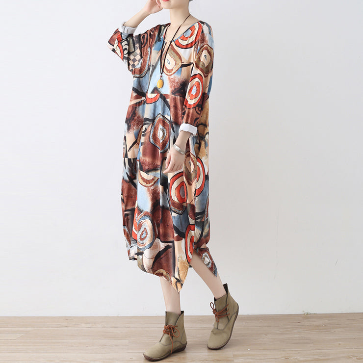 fine khaki beige prints cotton dress plus size clothing side open gown fine o neck maxi dresses