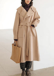top quality khaki wool coat plus size Notched pockets long jackets