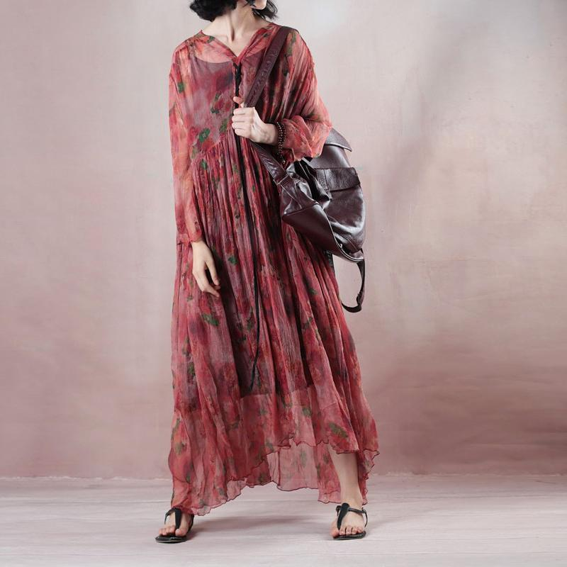 top quality light red silk dress v neck long sleeve gown print wrinkled drawstring maxi dress